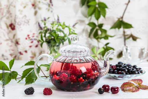 Image with berry tea. - 217889321