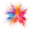 Quadro Explosion of coloured powder isolated on white background