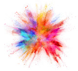 Explosion of coloured powder isolated on white background - 217890544
