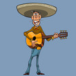 cartoon singer in a sombrero plays the guitar - 217891993