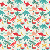 Cute background with dinosaurs and fruits