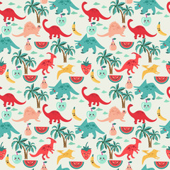 Cute background with dinosaurs and fruits © margolana