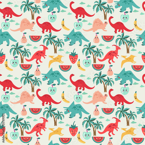 Cute background with dinosaurs and fruits - 217891921
