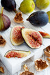 Fresh purple and green figs
