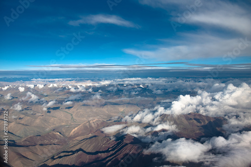 Aerial view of mountain range on July and August in Leh, Ladakh, India. - 217893722