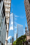 Low angle view of skyscrapers against blue sky in Financial Dist - 217895960