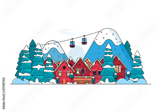 Aluminium Boerderij Cartoon snow home and rural cottages set.