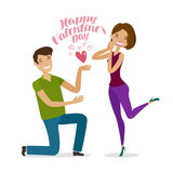Happy Valentine's day, greeting card or banner. Guy gives heart to girl. Cartoon vector illustration