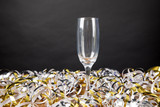 champagne glass with streamer - 217900178