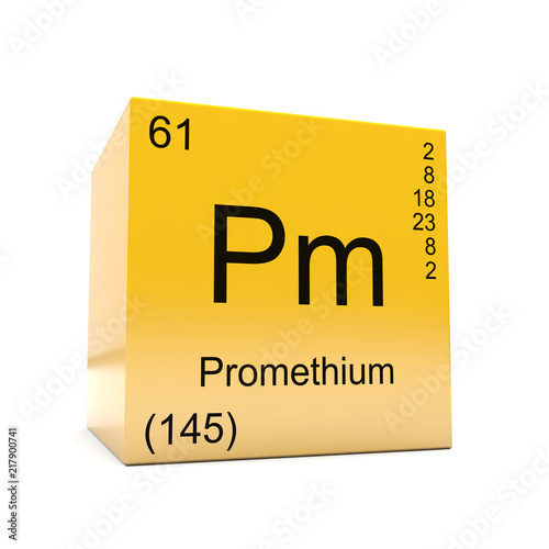 Promethium chemical element symbol from the periodic table displayed promethium chemical element symbol from the periodic table displayed on glossy yellow cube urtaz Image collections
