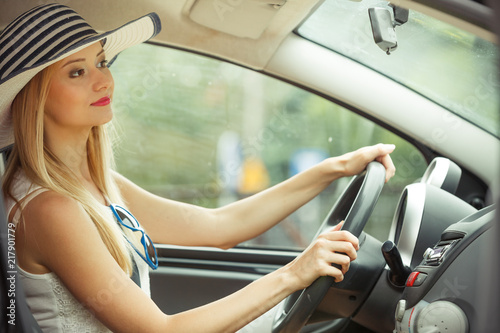 Pretty woman driving her car