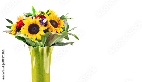 Composition with bouquet of flowers isolated on white - 217902980