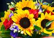 Leinwanddruck Bild - Composition with bouquet of flowers