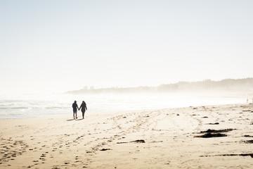 Pareja de enamorados caminando por la playa tomados de las manos
