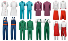 Overalls  Worker And Medical Clothes Design Template  Illustration Sticker