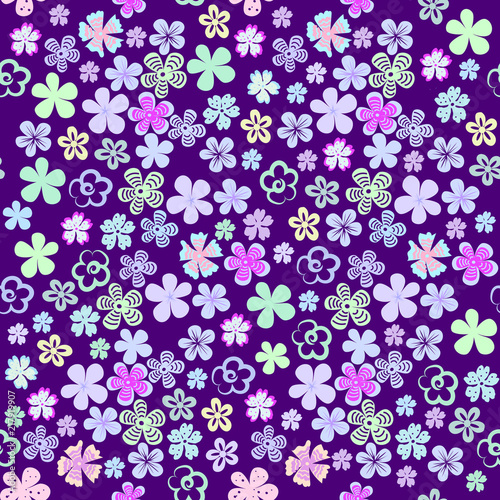 Vector seamless floral pattern of set of small bright decorative flowers on an ultra violet background - 217919907