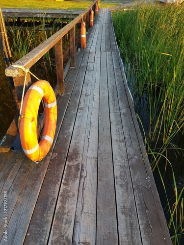 Foto Murales wooden pier, life ring, grass and water