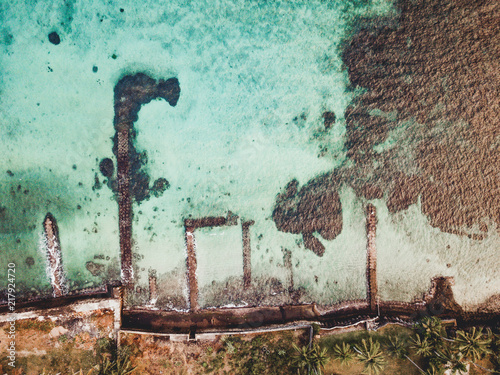 Fotobehang Bali Türkises Meer auf Bali aus der Luft