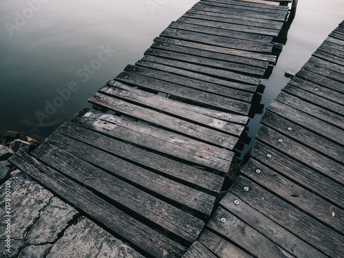 Aluminium Pier Wooden boardwalk over lake