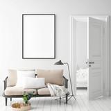 mock up poster frame in hipster interior background, Scandinavian style, 3D render, 3D illustration - 217935124