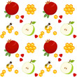 Pomegranates, apples, honeycomb and bee, seamless pattern