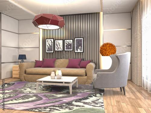 Leinwanddruck Bild Interior of the living room. 3D illustration