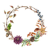 Watercolor autumn tree branch and flower wreath. Hand painted wreath with acorn, mushroom, cone, berries and leaves on white background. Illustration for design, fabric or background. - 217940379