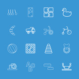 Collection of 16 toy outline icons