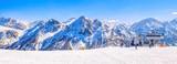 Dolomites ski slope in winter