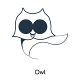 Owl icon vector isolated on white background, Owl sign , illustration with thin symbols or lined elements in outline style