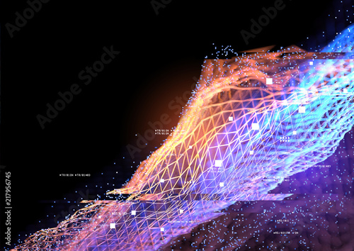 Geometric data connections. Abstract technology background. 3D illustration