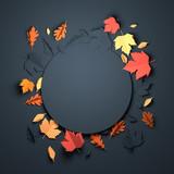 Folded Paper art origami. Seasonal autumn Leaves background. 3D illustration - 217956940