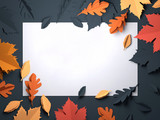 Folded Paper art origami. Seasonal autumn Leaves background. 3D illustration - 217956985