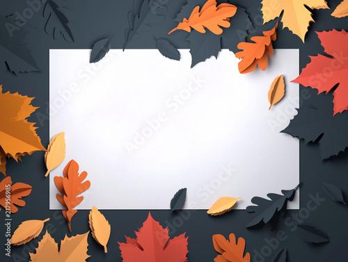 Fototapeta Folded Paper art origami. Seasonal autumn Leaves background. 3D illustration