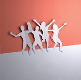 Folded Paper art origami.A group of active people jumping. Paper craft 3D illustration.
