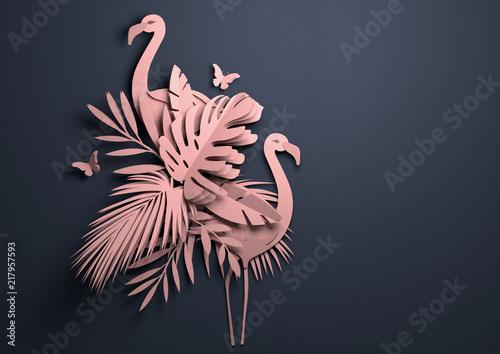 Składany papier origami.Tropical tło z flamingami. 3D ilustracji.