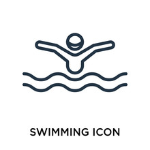 Swimming Icon     Swimming Sign  Thin Pictogram Or Outline Symbol Design In Linear Style Sticker