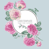 Vector vintage floral greeting card with pink roses - 217963744