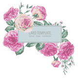 Vector vintage floral greeting card with pink roses - 217963906