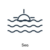 Sea icon vector isolated on white background, Sea sign , thin symbols or lined elements in outline style
