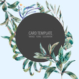 Vector template card of green tropical leaves - 217964564