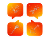 Scissors, flower and shovel icons.