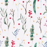 Vector seamless pattern of green tropical leaves, berries - 217965383