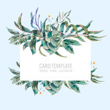 Vector template card of green tropical leaves - 217965721