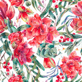 Vector floral seamless pattern of red flowers Amaryllis - 217965975