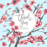 Vector spring greeting card with pink blooming branches - 217966716