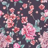 Vector nature seamless pattern, pink flowers blooming peonies - 217967774