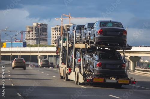 transportation of car on semi-trailer