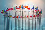 Flags of European states on flagpoles - 217970306