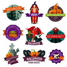 Halloween Party Label  Horror Pumpkin Monster Sticker